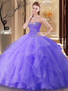 Discount Lavender Tulle Lace Up Sweetheart Sleeveless Floor Length Sweet 16 Dresses Beading