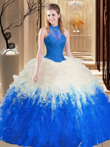 Pretty Blue And White Backless High-neck Lace and Appliques and Ruffles Quinceanera Dress Tulle Sleeveless