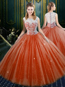 Glorious Sleeveless Floor Length Lace Zipper Quinceanera Gowns with Orange Red