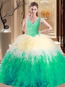 Adorable V-neck Sleeveless Vestidos de Quinceanera Floor Length Lace and Appliques and Ruffles Multi-color Tulle