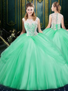 Most Popular Scoop Sleeveless Ball Gown Prom Dress Floor Length Lace and Pick Ups Apple Green Tulle