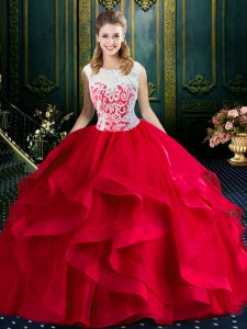 Square Lace and Ruffles Quinceanera Gown Red Zipper Sleeveless With Brush Train