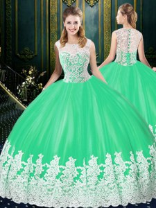 Scoop Apple Green Zipper Sweet 16 Dresses Lace and Appliques Sleeveless Floor Length