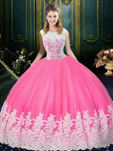 Admirable Scoop Floor Length Zipper 15th Birthday Dress Rose Pink for Military Ball and Sweet 16 and Quinceanera with Lace and Appliques