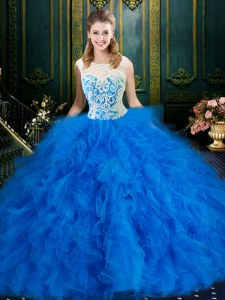 Custom Made Scoop Sleeveless Tulle Quinceanera Gowns Lace and Ruffles Zipper