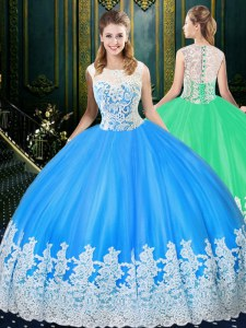 Charming Baby Blue Quinceanera Dress Military Ball and Sweet 16 and Quinceanera and For with Lace and Appliques Scoop Sleeveless Zipper