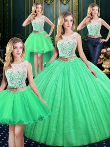 Latest Four Piece Tulle and Sequined Lace Up Scoop Sleeveless Floor Length 15 Quinceanera Dress Lace and Sequins