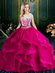Popular Scoop Fuchsia Two Pieces Lace and Ruffles Quinceanera Dress Lace Up Tulle Sleeveless With Train