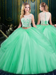 Modern Scoop Apple Green Sleeveless Lace and Pick Ups Floor Length Quince Ball Gowns