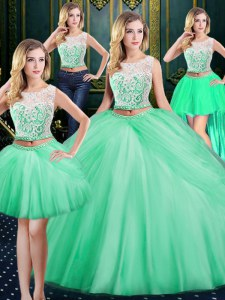 New Style Four Piece Scoop Sleeveless Tulle Quinceanera Dresses Lace and Pick Ups Zipper