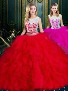Customized Scoop Sleeveless Quince Ball Gowns Floor Length Lace and Ruffles Red Tulle