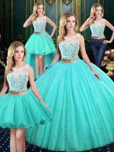 Trendy Four Piece Scoop Floor Length Blue Sweet 16 Quinceanera Dress Tulle and Sequined Sleeveless Lace and Sequins
