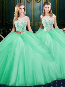 Inexpensive Tulle Scoop Sleeveless Zipper Lace and Pick Ups Sweet 16 Dress in Apple Green