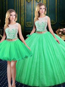 Hot Selling Three Piece Sequins Ball Gowns Quinceanera Gowns Scoop Tulle and Sequined Sleeveless Floor Length Lace Up