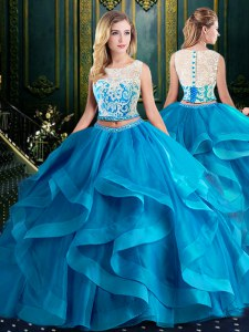 Eye-catching Scoop Baby Blue Sleeveless Tulle Brush Train Zipper Quince Ball Gowns for Military Ball and Sweet 16 and Quinceanera