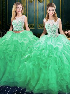 Green Ball Gowns Organza Scoop Sleeveless Lace and Ruffles Lace Up Sweet 16 Quinceanera Dress Court Train