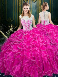 Clearance Scoop Fuchsia Zipper Sweet 16 Dress Lace and Ruffles Sleeveless Floor Length