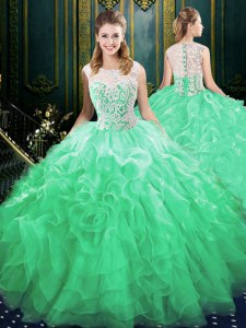 Fashion Scoop Sleeveless Brush Train Zipper Quinceanera Gowns Green Organza and Tulle