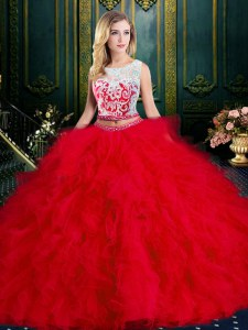 Scoop Sleeveless Lace and Ruffles Zipper 15 Quinceanera Dress