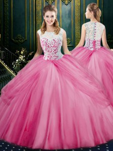 Sophisticated Scoop Rose Pink Sleeveless Lace and Pick Ups Floor Length Quinceanera Dress