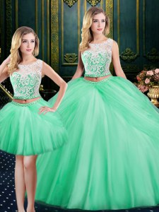 Three Piece Apple Green Satin and Tulle Lace Up Scoop Sleeveless Floor Length Quinceanera Gowns Lace and Pick Ups