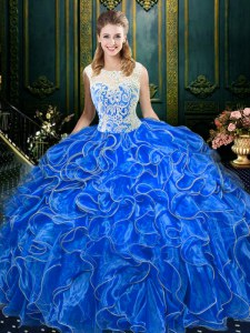 Deluxe Scoop Floor Length Zipper Quinceanera Gowns Royal Blue for Military Ball and Sweet 16 and Quinceanera with Lace and Ruffles
