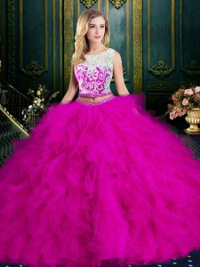 High Quality Fuchsia 15th Birthday Dress Military Ball and Sweet 16 and Quinceanera and For with Lace and Ruffles Scoop Sleeveless Zipper