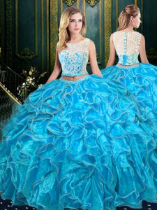 Baby Blue Two Pieces Organza Scoop Sleeveless Lace and Ruffles Floor Length Zipper 15 Quinceanera Dress