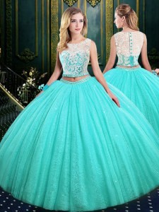 Scoop Sleeveless Tulle and Sequined 15 Quinceanera Dress Lace and Sequins Lace Up
