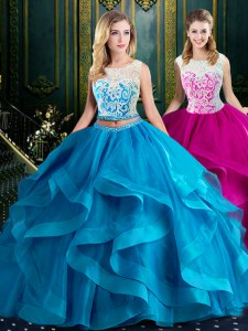 Tulle Scoop Sleeveless Brush Train Zipper Lace and Ruffles Quinceanera Gowns in Baby Blue