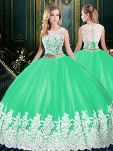 Scoop Floor Length Apple Green Quinceanera Dress Tulle Sleeveless Lace and Appliques