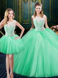 Three Piece Apple Green Lace Up Scoop Lace and Pick Ups 15 Quinceanera Dress Tulle Sleeveless