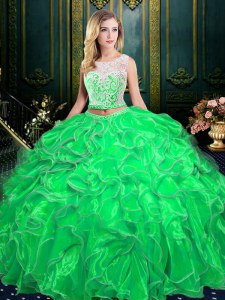 Scoop Sleeveless Organza Zipper 15 Quinceanera Dress for Military Ball and Sweet 16 and Quinceanera