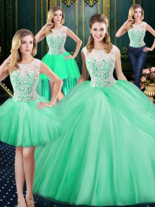 Traditional Four Piece Scoop Tulle Sleeveless Floor Length Quince Ball Gowns and Lace and Pick Ups