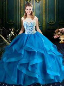Elegant Blue Scoop Neckline Lace Quince Ball Gowns Sleeveless Zipper