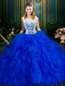 Scoop Royal Blue Sleeveless Floor Length Lace and Ruffles Zipper Ball Gown Prom Dress