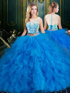 Lovely Scoop Sleeveless Floor Length Lace and Ruffles Zipper Quinceanera Gown with Blue