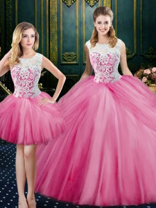 Excellent Three Piece Scoop Floor Length Zipper Vestidos de Quinceanera Pink for Military Ball and Sweet 16 and Quinceanera with Lace and Pick Ups