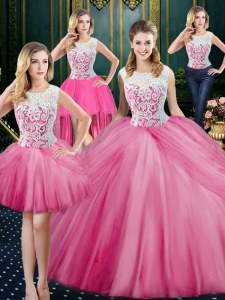 Four Piece Rose Pink Ball Gowns Scoop Sleeveless Tulle Floor Length Zipper Lace and Appliques and Pick Ups Ball Gown Prom Dress