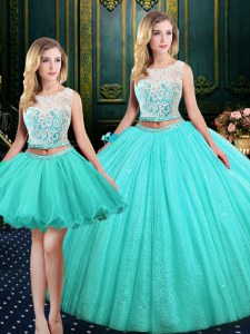 Unique Three Piece Sequins Ball Gowns 15th Birthday Dress Blue Scoop Tulle and Sequined Sleeveless Floor Length Lace Up
