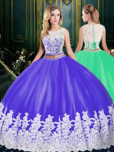 Scoop Sleeveless 15 Quinceanera Dress Floor Length Lace and Appliques Purple Tulle
