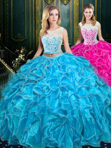 Classical Baby Blue Two Pieces Scoop Sleeveless Organza Floor Length Zipper Lace and Ruffles Quinceanera Dress