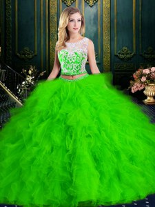 On Sale Scoop Tulle Sleeveless Floor Length Quinceanera Gown and Lace and Ruffles