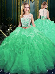 Trendy Scoop Sleeveless Court Train Lace and Appliques and Ruffles Zipper Quinceanera Dress