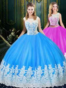 Super Scoop Sleeveless Ball Gown Prom Dress Floor Length Lace and Appliques Baby Blue Tulle