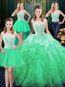 Four Piece Scoop Green Sleeveless Floor Length Lace and Ruffles Zipper Ball Gown Prom Dress