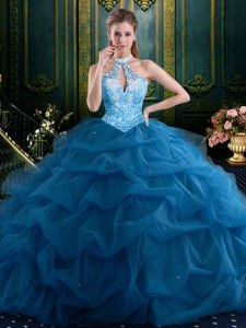 Halter Top Navy Blue Lace Up Quinceanera Dresses Beading and Pick Ups Sleeveless Floor Length