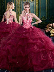 Halter Top Sleeveless Tulle Sweet 16 Quinceanera Dress Beading and Ruffles and Pick Ups Lace Up