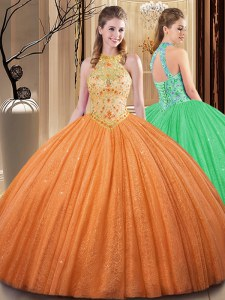 High End Orange Ball Gowns High-neck Sleeveless Tulle Floor Length Backless Embroidery and Hand Made Flower Quinceanera Gown