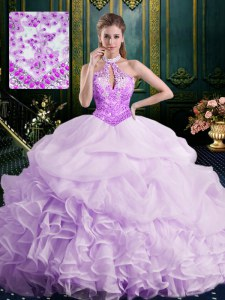 Customized Halter Top Sleeveless Organza Quinceanera Dress Beading and Lace and Appliques and Ruffles and Pick Ups Brush Train Lace Up